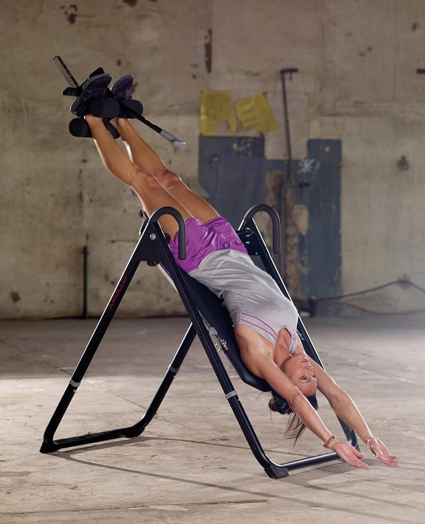 A woman doing back stretching