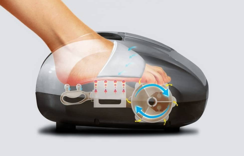 foot being in a foot massager